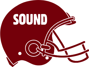 Garnet colored football helmet with SOUND written on the side