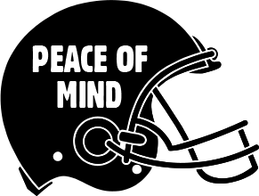 Black football helmet with PEACE OF MIND written on the side